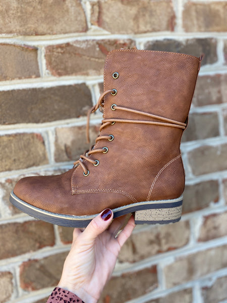 Lace Up Mid Calf Combat Boot
