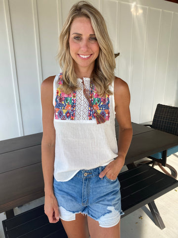 Embroidered Front Tie Tassel Top