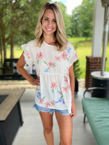 Floral Print Baby Doll Top