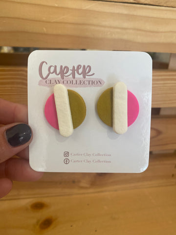 Layered Pink Stud {CarterClay Collection}
