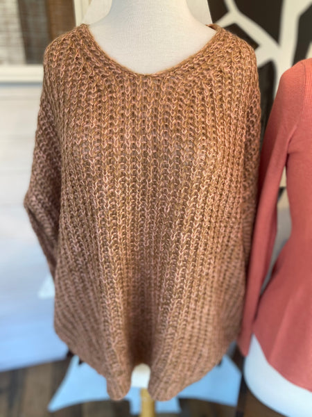 Two Toned Cable Knit Top