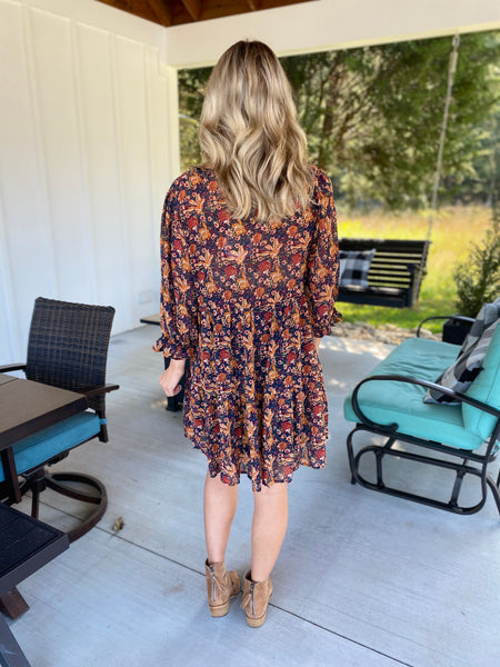 Ready for Fall Floral Print Dress