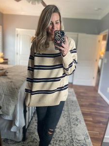 Oversized Taupe Striped Sweater