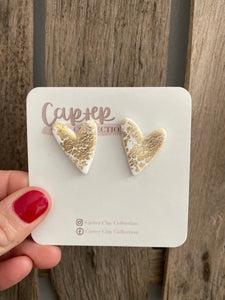 Gold Foil Heart Studs {CarterClay collection}