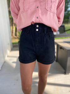 Paperbag Black Shorts