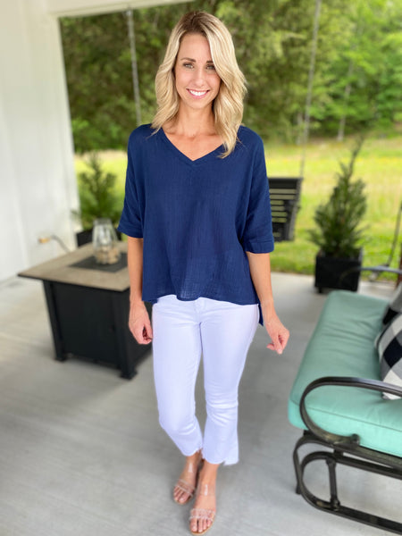 Hey Poncho Top, Navy