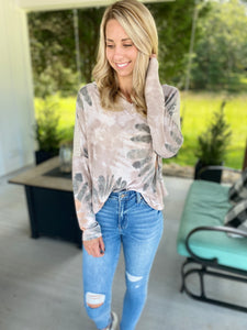 Olive and Taupe Design Top