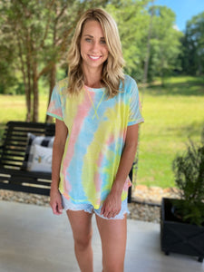 Multicolor Tyedye Summer Tee, peach