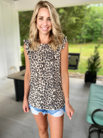 Leopard Gathered Knit Top