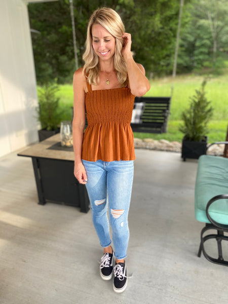 Rust Striped Smocked Top
