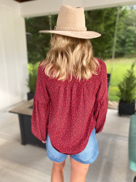 Red Leopard Blouse