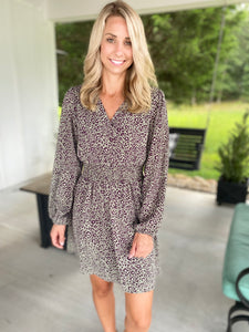 Fall Leopard Print Surplice Dress