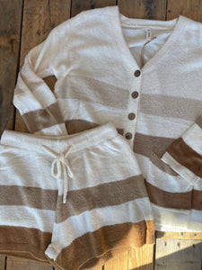 Soft to the Touch Stripe Cardigan Set with Shorts