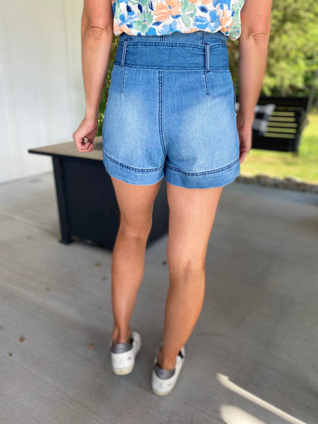 High Waisted Denim Shorts with Tie