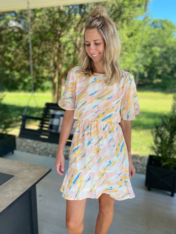 Blush and Blue Abstract Dress