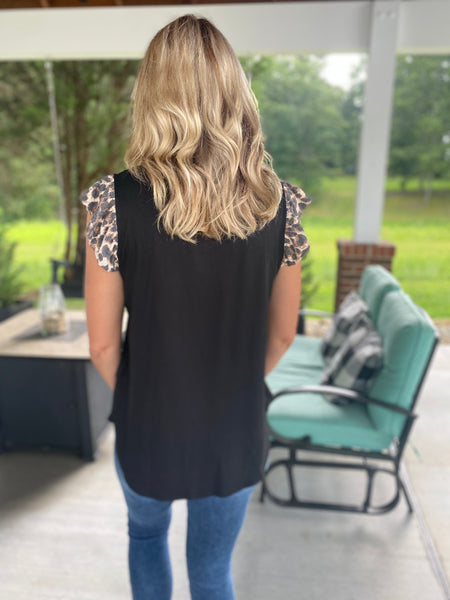 Black with a Touch of Leopard Top