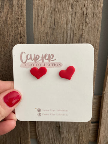 Small Red Heart Studs {CarterClay Collection}