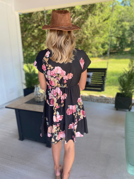 Floral Tiered Dress, Black