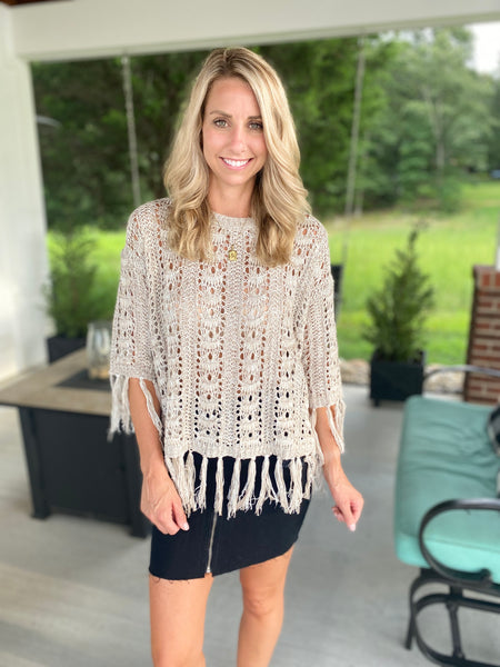 Fringe Sweater, Taupe