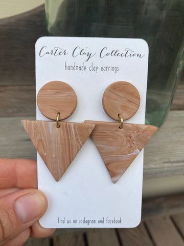 Brown Triangle Dangles {CarterClayCollection}