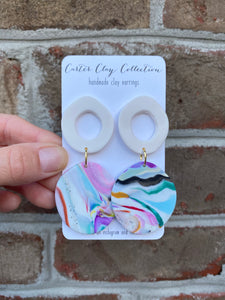 White Circle with Swirl Earring {CarterClay Collection}