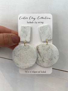 White Speckled Dangle {CarterClay Collection}