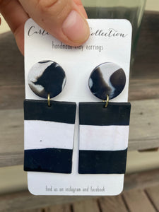 Black and White Rectangle Dangles {CarterClay collection}
