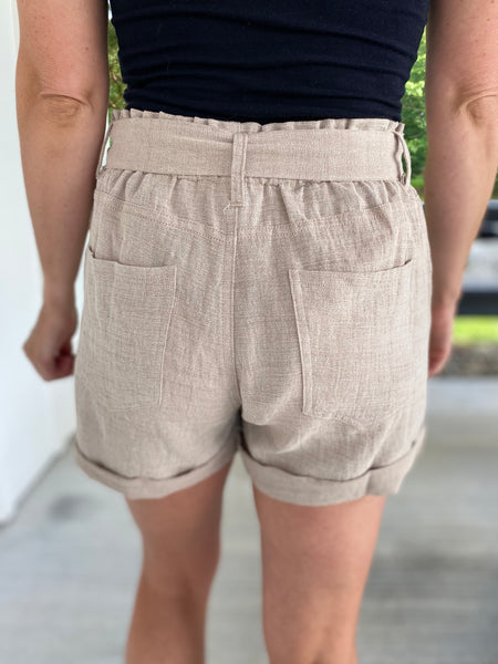 Linen Paperbag Shorts, Taupe