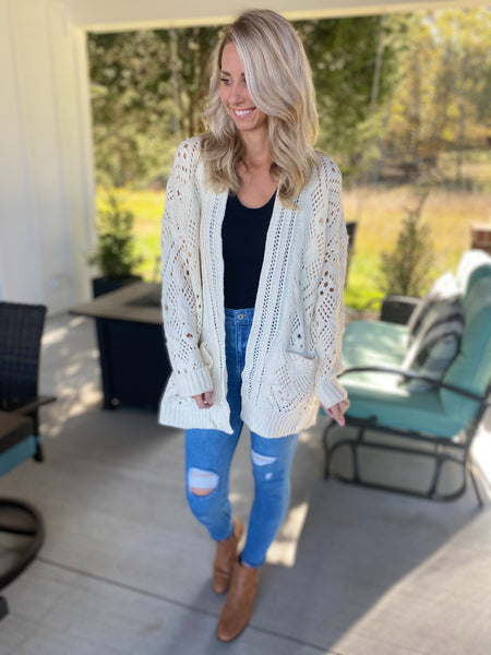 Cozy Knit Chunky Cardigan, Cream