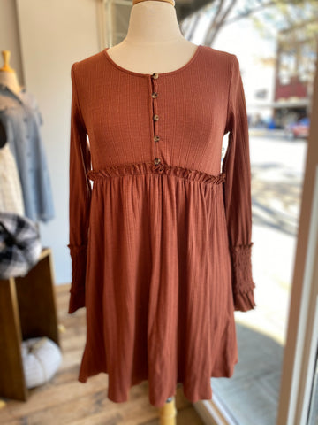 Button Down Soild Rust Dress