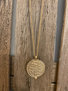 Gold Long Coin Necklace