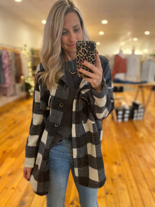 Black and Cream Flannel Top