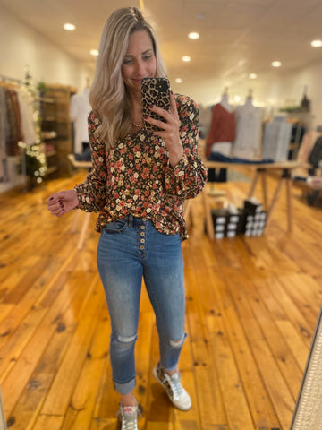 Black and Cream Floral Top