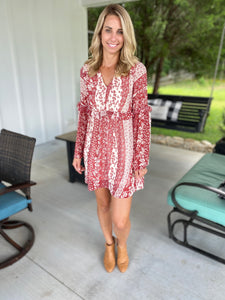 Bell Sleeve Floral Dress in Rust
