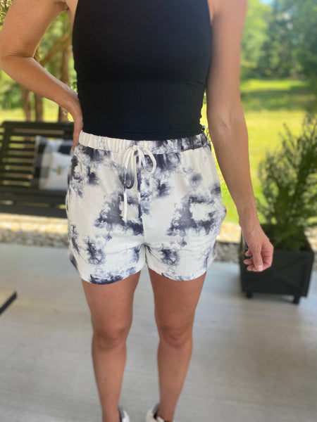 Ivory and Black Tiedye Shorts
