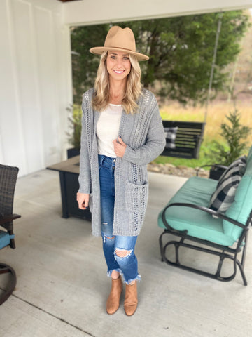 Soft, Open Front Knit Cardigan, Heather Grey