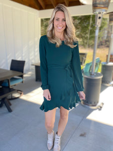Long Sleeve Woven Dress, Sea Green