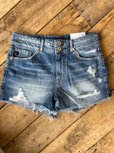 High Rise Double Button Distressed Shorts