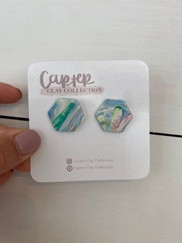 Mint Swirl Studs {CarterClay Collection}