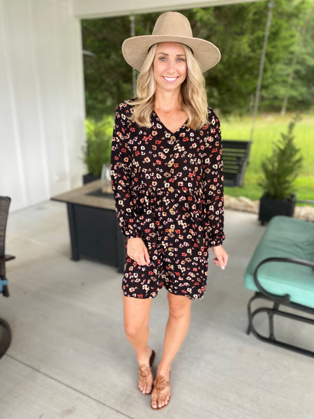 Button Down Fall Floral Dress