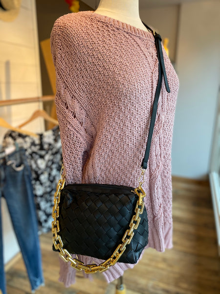 Black Weave Purse with Gold Chain Accent
