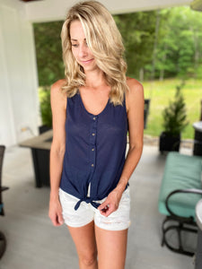 Knot in the Front Navy Top