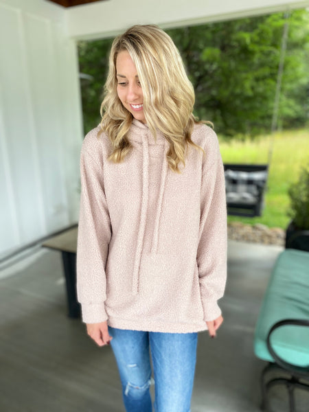Cream Long Sleeve Pullover with Hoodie