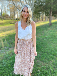 Floral Printed Midi Taupe Skirt