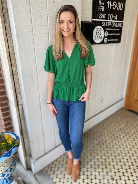 Green detailed blouse