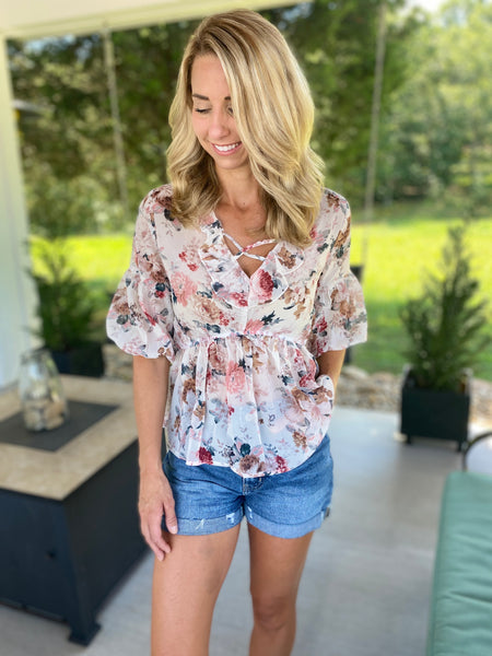 Antique Floral Peplum Top