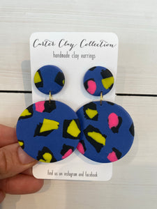 Blue Speckled Dangles {CarterClay Collection}