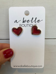Crystal Heart Stud, Red