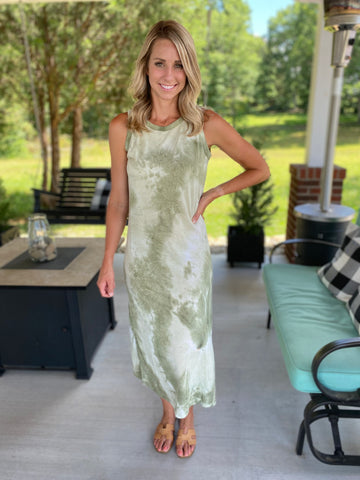 Light And Olive Tiedye Midi Dress