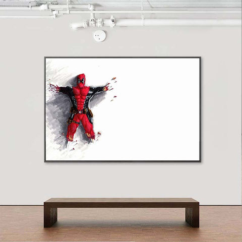 Tableau Super Héros Deadpool en vol